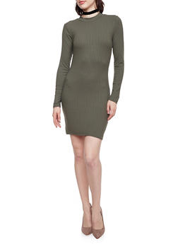 Long Sleeve Mini Dress in Rib Knit Fabric - OLIVE - 1410066498863