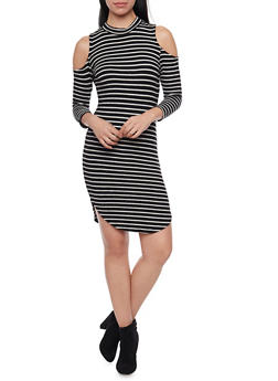 Striped Cold Shoulder Bodycon Dress with Mock Neck - 1410066498907