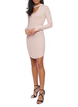 Long Sleeve Rib Knit Dress with Choker Collar - 1410066498941