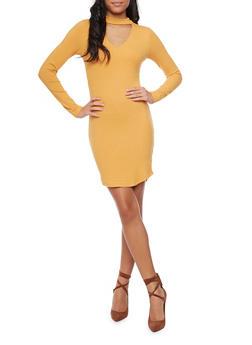 Long Sleeve Rib Knit Dress with Choker Collar - GOLD - 1410066498941
