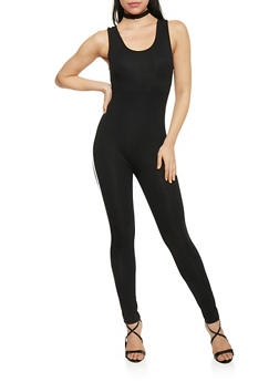 Sleeveless Catsuit with Varsity Stripe - BLACK - 1410066499137