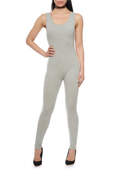 Sleeveless Catsuit with Varsity Stripe - HEATHER - 1410066499137