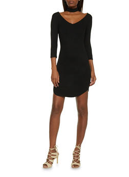 Ribbed Off Shoulder Dress with Choker Neckline - BLACK - 1410066499162