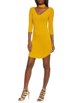Ribbed Off Shoulder Dress with Choker Neckline - 1410066499162