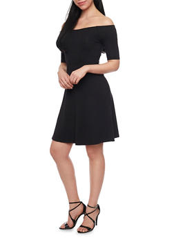Off the Shoulder Skater Dress - BLACK - 1410066499175