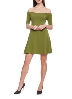 Off the Shoulder Skater Dress - 1410066499175