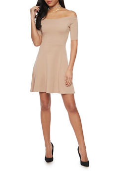 Off the Shoulder Skater Dress - 1410066499175