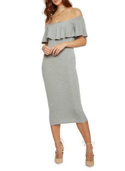 Mid Length Off The Shoulder Bodycon Dress - 1410066499180