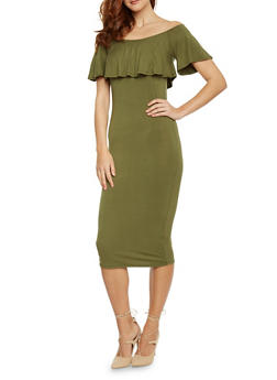 Ruffle Off The Shoulder Midi Dress - 1410066499180