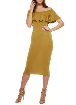 Mid Length Off The Shoulder Bodycon Dress - MUSTARD - 1410066499180