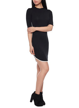 Jersey Mini Dress with Side Piping - BLACK/WHITE - 1410066499183