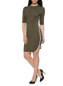 Jersey Knit Mini Dress with Contrast Piping - 1410066499183