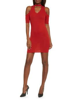 Cold Shoulder Keyhole Cut Out Dress - 1410066499410