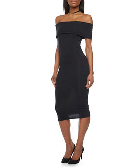 Soft Knit Off The Shoulder Mid Length Bodycon Dress - BLACK - 1410066499417