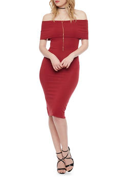 Soft Knit Off The Shoulder Mid Length Bodycon Dress - WINE - 1410066499417