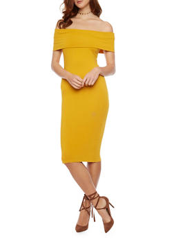 Soft Knit Off The Shoulder Mid Length Bodycon Dress - MUSTARD - 1410066499417