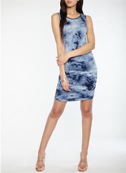 Ruched Tie Dye Dress - 1410066499513