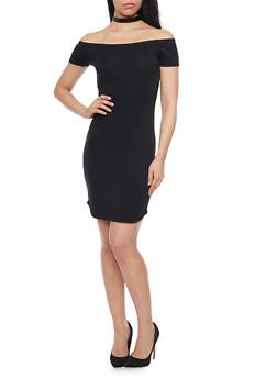Basic Off the Shoulder Bodycon Dress - BLACK - 1410066499527