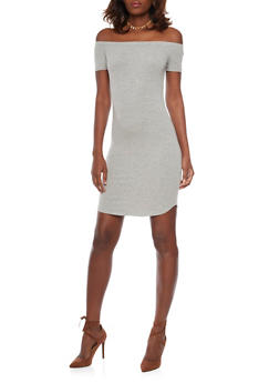 Basic Off the Shoulder Bodycon Dress - 1410066499527