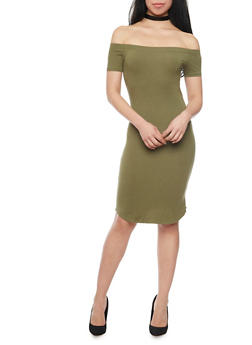 Basic Off the Shoulder Bodycon Dress - OLIVE NEW - 1410066499527