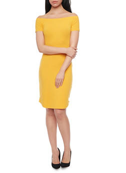 Basic Off the Shoulder Bodycon Dress - MUSTARD BRIGHT - 1410066499527