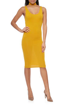 Sleeveless Choker Neck Midi Dress - 1410066499553