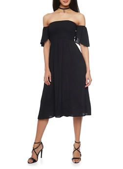 Smocked Off the Shoulder Peasant Dress - BLACK - 1410066499586