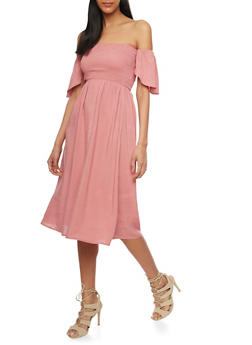 Smocked Bust Off the Shoulder Peasant Dress - 1410066499586