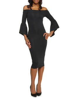 Off the Shoulder Bodycon Dress with ¾ Bell Sleeves - BLACK - 1410066499600