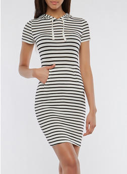Soft Knit Striped Hooded Dress - 1410066499756