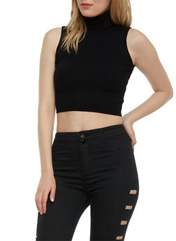 Sleeveless Ribbed Knit Crop Top Turtleneck - 1410068191198