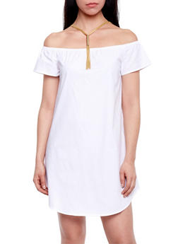 Cap Sleeve Off the Shoulder Dress - 1410068192884