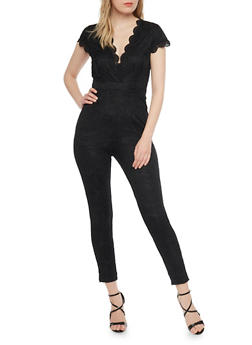 Scalloped Short Sleeve Lace Jumpsuit - 1410068195357