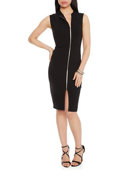 Soft Knit Zip Front Bodycon Dress - 1410068196061