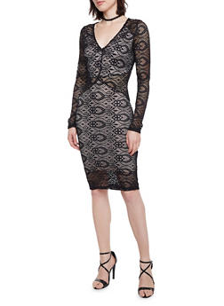 Lace Dress with Lining - 1410068196073