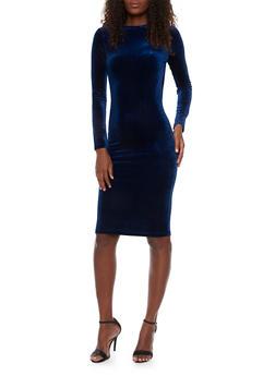 Velvet Crew Neck Long Sleeved Bodycon Dress - 1410068196125