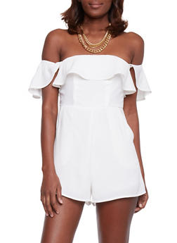 Off the Shoulder Ruffled Romper - WHITE - 1410068196214