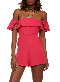 Off the Shoulder Ruffled Romper - PINK - 1410068196214