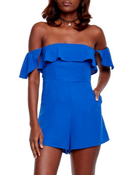 Off the Shoulder Ruffled Romper - BLUE - 1410068196214