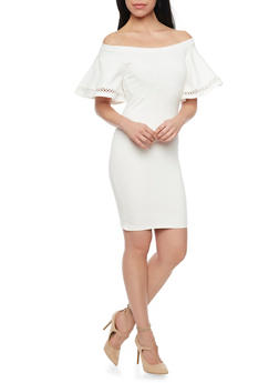 Off the Shoulder Ponte Knit Dress with Bell Sleeves - WHITE - 1410068196298