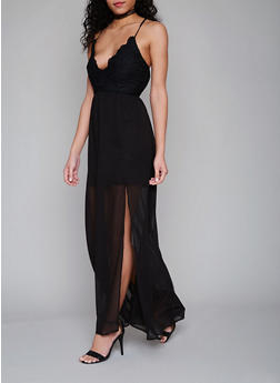 Crochet Chiffon Maxi Dress with Cross Back - BLACK - 1410068196310