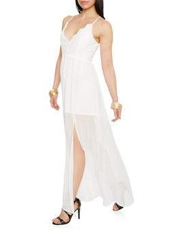 Crochet Chiffon Maxi Dress with Cross Back - WHITE - 1410068196310