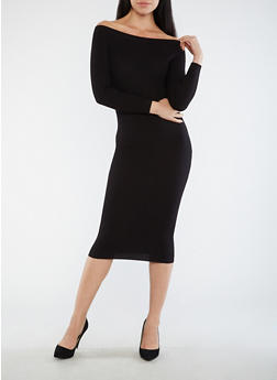 Off the Shoulder Rib Knit Sweater Dress - 1410068196667