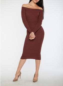 Off the Shoulder Rib Knit Sweater Dress - 1410068196667