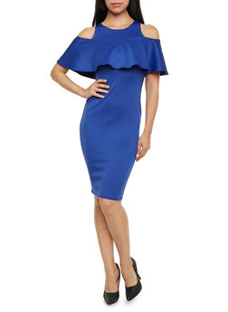 Cold Shoulder Midi Dress with Ruffle Overlay - 1410068512583