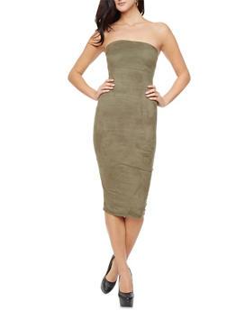 Faux Suede Bodycon Midi Dress - 1410068513325