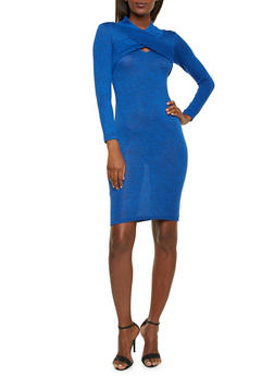 Marled Knit Midi Dress with Criss Cross Front and Cutout - 1410068514257