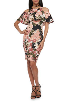 Ruffled Cold Shoulder Floral Dress - 1410068514258