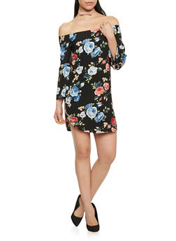Off the Shoulder Floral Crepe Knit Shift Dress - 1410068514263