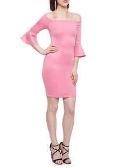 Off the Shoulder Scuba Knit Dress - 1410068514271